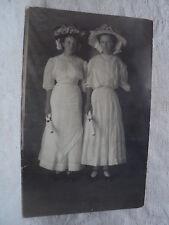 2 Pretty Young Ladies in Fancy Dress w/ Diplomas? 1910 RPPC Postcard