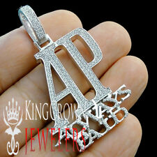 "Real White Gold On Sterling Silver ""AP"" Always Paid Pendant Simu Diamond Charm"