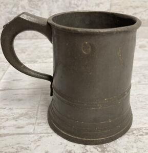 Antique Victorian JAMES YATES 1/2 Pint Pewter Metal Tankard Mug 19th Century