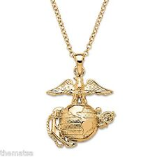 "MARINE CORPS 14K GOLD EGA PENDANT GP NECKLACE WITH 20"" CHAIN"