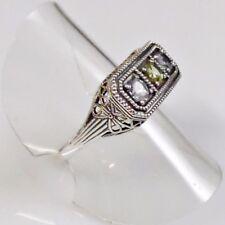 Filigraner Antik Style Aquamarin Peridot Ring 925er Sterlingsilber 57 (18,1mm Ø)