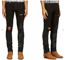 SAINT LAURENT Black Stained Ripped Jeans