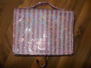 Victoria's Secret Striped Sparkle Pink Cosmetic Make Up Hanging Travel Bag