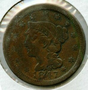 1847 Braided Hair Large Cent Penny - Philadelphia Mint - MH286