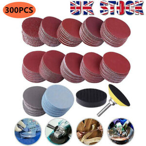 300Pcs 50mm Sanding Discs Pad Kit for Drill Grinder Rotary Tools +Backing Pad