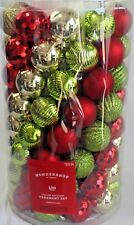NEW Shatter Resistant Ornament Set Lot/100 Red Green Gold Sparkle Tree Ornaments