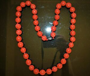 antique Chinese 43 red round cinnabar lacquer beads necklace 辟邪朱砂项链