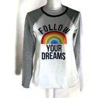 Lands End Girls Top Long Sleeve T Shirt Rainbow Dreams Cotton Casual Size XL 16