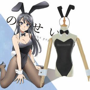 Rascal Does Not Dream of Bunny Girl Sakurajima Mai Black Dress Waitress Costume
