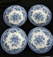 "4 Johnson Bros. Asiatic Pheasant Blue 6.5"" 8 oz. Coupe Soup Cereal Bowls England"