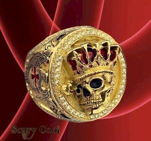 New Skull King Crown Gothic Gold Biker Horror Mens Ring