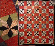 Antique/Vintage Hand Stitched Primitive Pinwheel Star Quilt BedSpread Coverlet