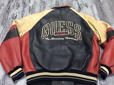 H Vintage Guess USA Leather Embroidered Varsity Jacket Unisex M Shirt Stripped