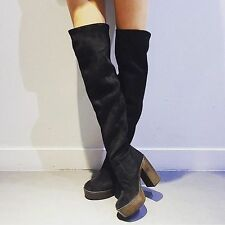 TOPSHOP Black BUDDY 70s HIGH LEG SUEDE BOOTS. UK 8, EU 41. OVER THE KNEE BOOTS