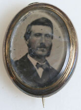 """PIN GOLD  JEWELRY TINTED TINTYPE: MAN WITH BEARD INITIALS """"ADW"""" ON BACK 1860s."""