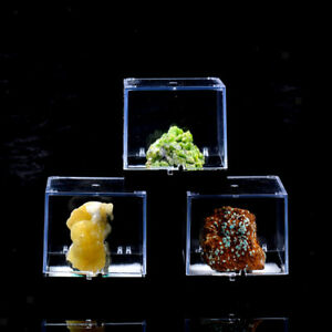 3x3x3.5cm Transparent Display Show Case Balck Base for Gemstone Collection