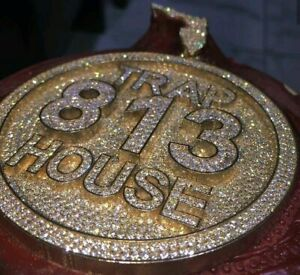 HipHop Style Pendant TRAP-HOUSE numberic Diamond Studded sterling silver 925