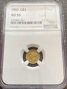 M13830- 1851 GOLD DOLLAR NGC AU55