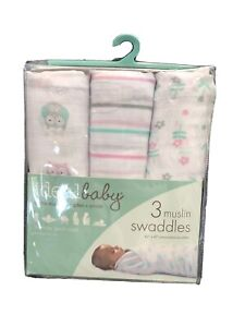 Aden & Anais Ideal Baby Girl Muslin Swaddle Blankets 3-Pack Owl Flowers Pink NWT