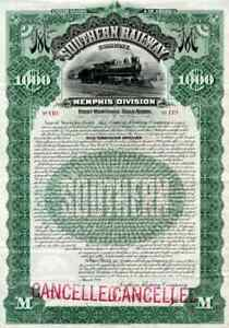 1898 Southern RW Bond Certificate, Memphis Division