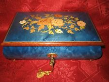Italian Hand Inlaid Wood Footed Music Box by Augusto -Sorrento