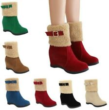 6 Colors Women Buckle Pull On Round Toe Wedge Heel Fleece Ankle Boots Winter D