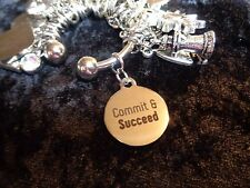 """Commit & Succeed"" -  Motivational Charm for Weight Watchers Keychain"