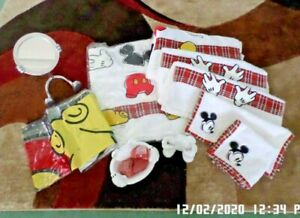 Mickey Mouse Towel Set. Shower Curtain, Mirror, Soap-Tooth Brush Holders, Soap