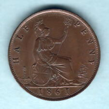 New listing Great Britain. 1861 Halfpenny. Lcw Incuse on Rock. Part Lustre. aUnc/gEf