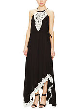 T-bags LA Maxi (XS) Black Dress w/ Ivory Crochet Bib & Hem - NWT - SOLD OUT!!