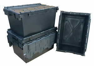 NEW BLACK 80 Litre Plastic Storage Boxes Containers Crates Totes with Lids