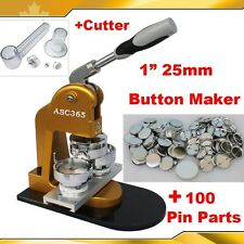 "Pro N1 1"" 25mm Badge Button Maker +Circle Cutter+100 Metal Pin Parts"