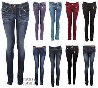 Ladies Slim Fit Skinny Coloured Studded Denim Women's Jeans 6 8 10 12 14 16