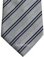 NEW 100% silk striped men's necktie silver & black & blue wedding prom formal