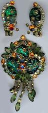JULIANA CARVED GREEN GLASS FLOWERS ORANGE DANGLE RHINESTONE PIN & EARRINGS SET