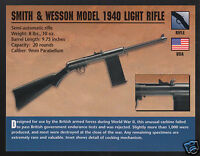 SMITH & WESSON MODEL 1940 LIGHT RIFLE 9mm WW2 Gun Classic Firearms PHOTO CARD
