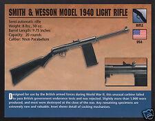 SMITH & WESSON MODEL 1940 LIGHT RIFLE 9mm WW2 Gun Classic Firearms PHOTO CARD