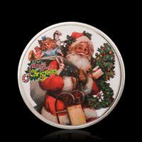 HK- Xmas Santa Gift Commemorative Coin Souvenir Embossing Holiday Collection CA