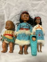 Lot of 4 Native American Indian Souvenir Dolls Turquoise Outifits 2 Girl 2 Baby