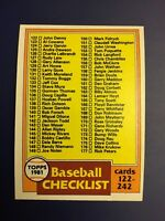 1981 Topps #241 Baseball Checklist UNMARKED 122-242 Nice Card !