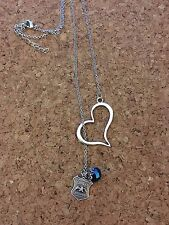 Heart Police Lariat Necklace Thin Blue Line Badge Necklace