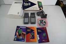 2 Palm Iii 3 xe Vintage Lcd Organizer Digital Pda with Stylus, box, manuals.