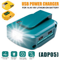 18V/20V Dual USB Charger Power Source Lithium Battery Adapter For Dewalt/Makita