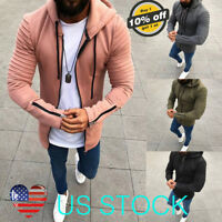 Mens Muscle Long Sleeve Thick Hoodie Coats Pocket Hooded Zip Up Slim Fit Jackets