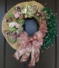 Green Organza Purple Bow Elegant Christmas Wreath - Pink Christmas