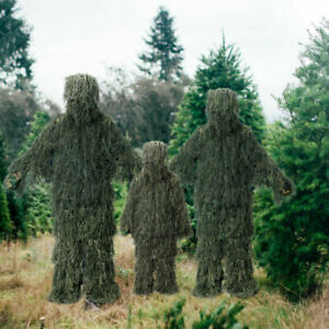 Adult Child Ghillie Suit 3D Camouflage Hunting Apparel Woodland Jungle Hunting