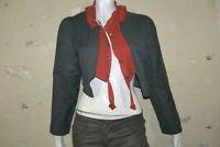 MOLOKO Taille 42 Superbe gilet court femme gris rouge coton mélangé boléro cache