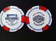 """Harley Davidson Poker Chip (White & Red) """"Bumpus Shop"""" Collierville,TN."""