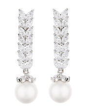 Pearl Clip On Earrings silver drop with cubic zirconia stones  - Naomi S