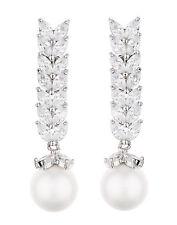 Orecchini a Clip-goccia argento con una perla & Zirconi Pietre-Naomi S